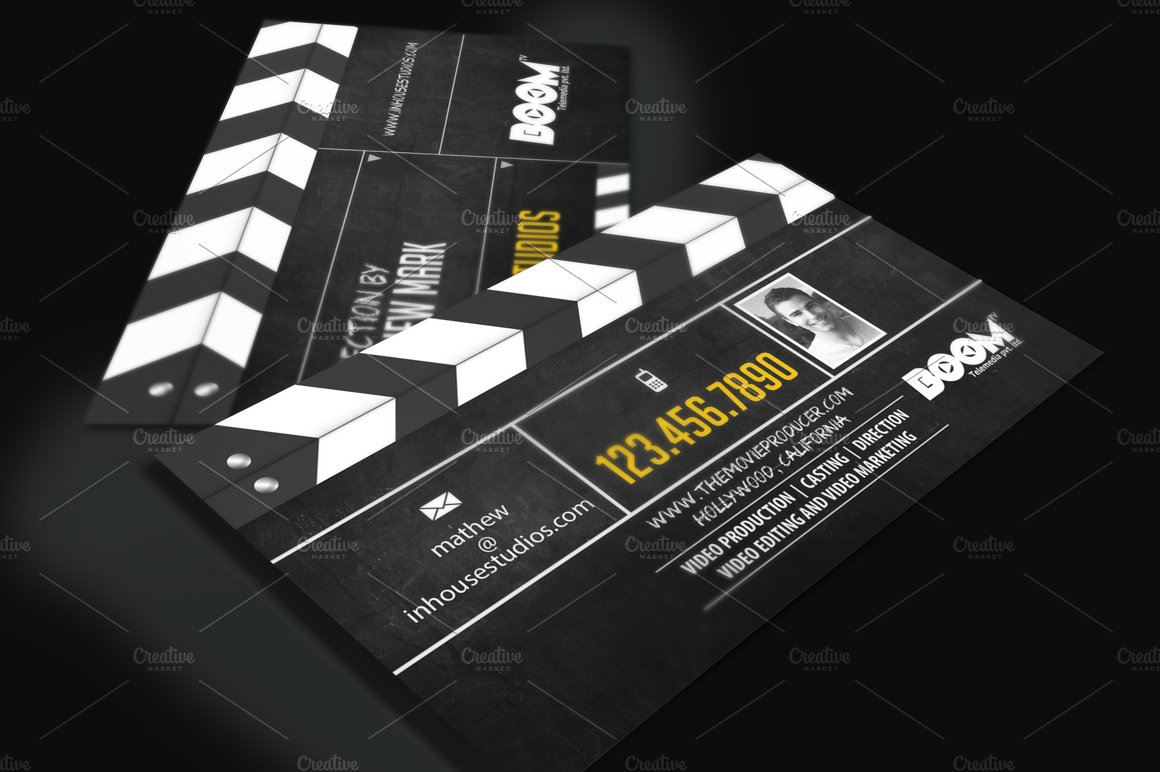 Movie producer director biz card business card templates movie producer director biz card business card templates creative market reheart Images