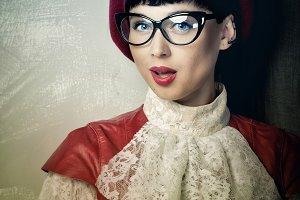 Frenchwoman beret, vintage dress