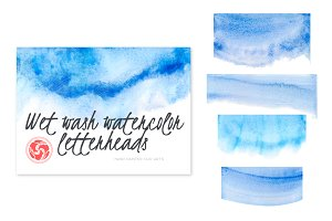 Wet Wash Watercolor Letterheads Blue