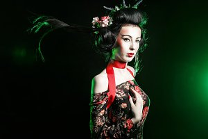Geisha with hairstyle and makeup