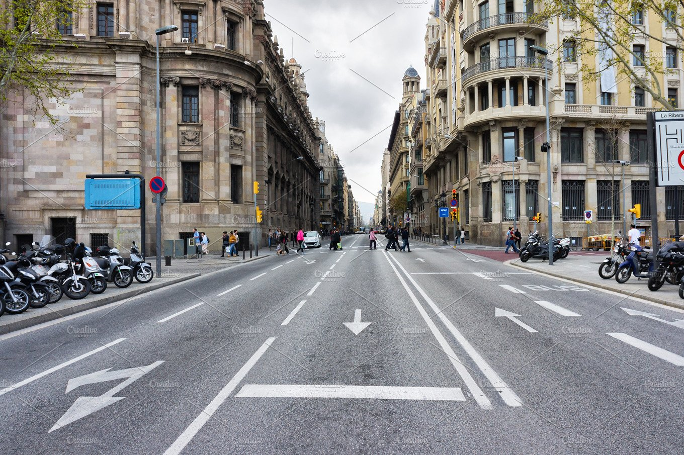 Empty Street Background With Wide Road And Buildings