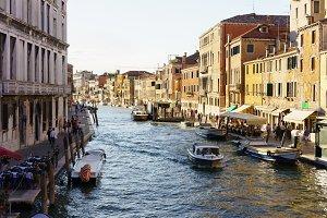Canal with gondolas scene, Venice, Italy.