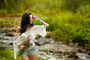 Boho Girl with wildflowers