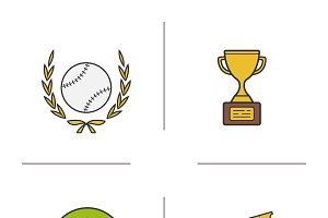 Baseball icons. Vector