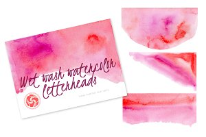 Wet Wash Watercolor Letterhead - Red