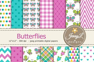 Butterflies Digital Papers