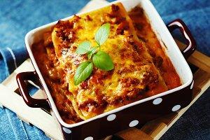 Hot tasty Lasagna plate