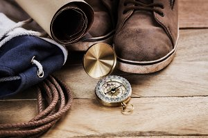 vintage compass with accessory