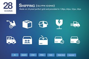 28 Shipping Glyph Icons