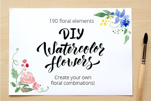DIY Watercolor flowers. 190 elements
