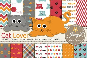 Cat Lover Digital Paper and Clipart