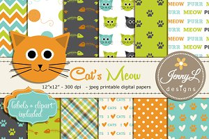 Cat's Meow Digital Paper & Clipart