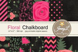 Chalkboard Floral Digital Paper