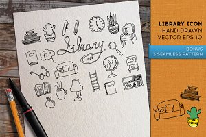 Doodle Library icon set. Vector.