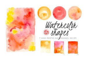 Wet Wash Watercolor Shapes