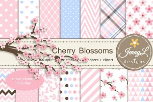 Cherry Blossoms Digital Paper