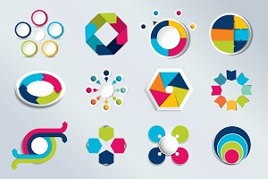 Set of circle charts, infographics.
