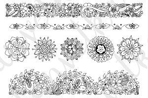 Doodle Art floral ornament.