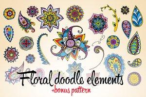 Floral doodle elements
