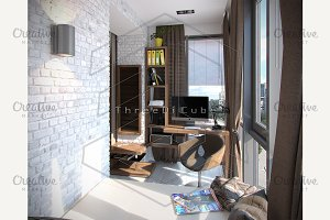 Bedroom balcony ideas, 3d render