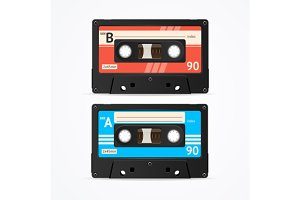 Colorful Cassette Tape Old Set