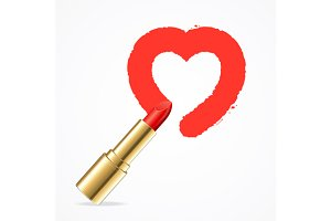 Heart with Lipstick. Vector