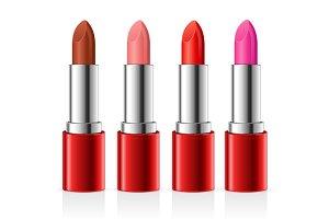 Realistic Lipstick Set. Vector