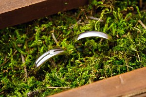 Wedding engagement rings close up