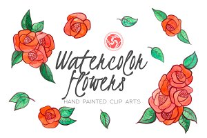 Red Hand Painted Watercolor Flowers