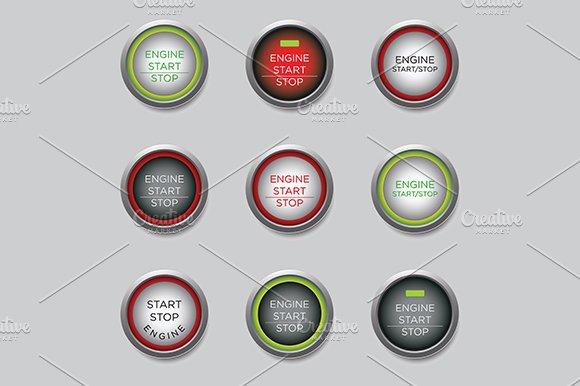 Start Stop Engine Button Vector
