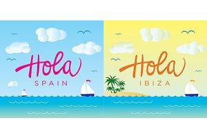 Hola Spain, Ibiza Vector Template