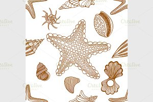 Seashells and starfish pattern