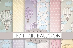 Hot air balloons digital pattern