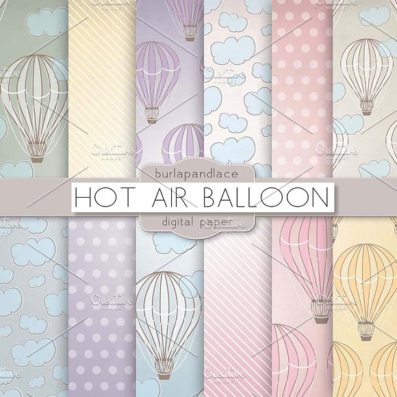 Hot air balloons digital pattern in Patterns