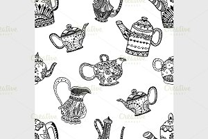 Seamless pattern of Teapots