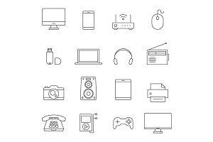 Electronic devices outline icons