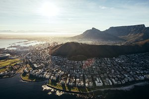 Birds eye view of city of cape town