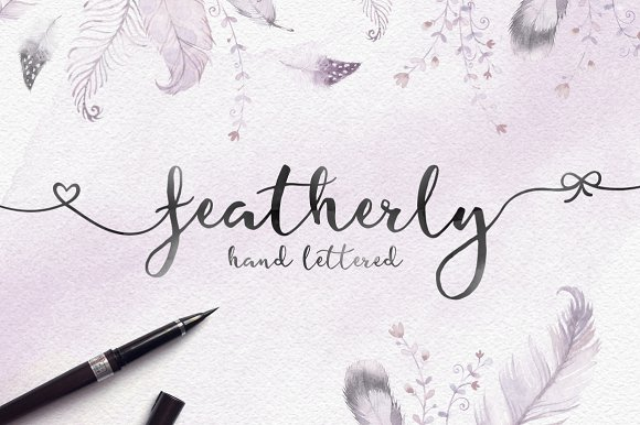 Featherly hand lettered script fonts creative market
