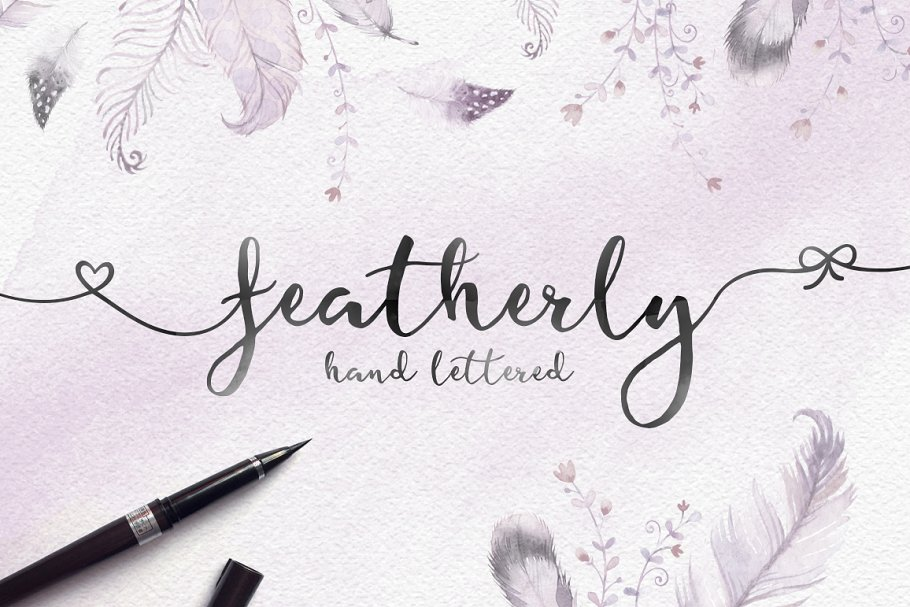 Featherly Hand Lettered