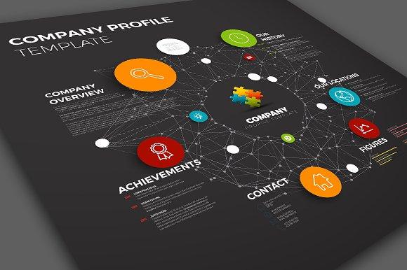 dark company profile template presentation templates creative market