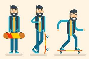 Geek Skater Character Flat Design