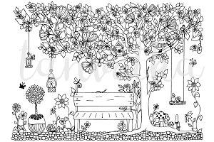 Doodle bench, park, coloring