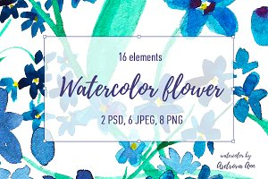 Watercolor blue flower