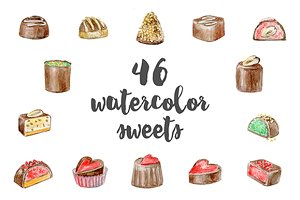 watercolor sweets and candy