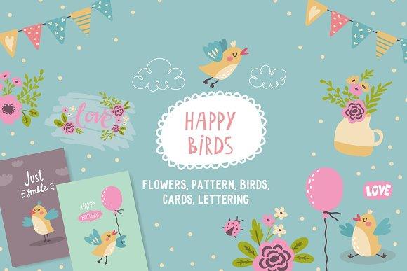 Happy birds illustration and pattern