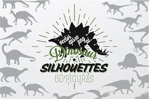 Set of 60 silhouettes dinosaurs