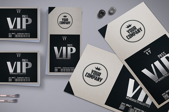 Stylish simple VIP PASS ~ Card Templates ~ Creative Market