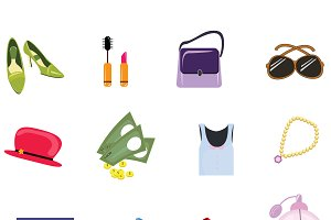 Woman accessories 12 icons set