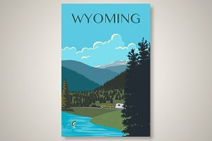 Wyoming Travel Poster Graphic