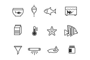 12 Aquarium and Fish Icons